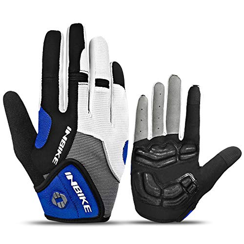 INBIKE Cycling Gloves for Men Mountain Bike Cycle Mens Road MTB Bicycle Biking Protective Exercise Accessories Gym Gel Padded Womens Blue M