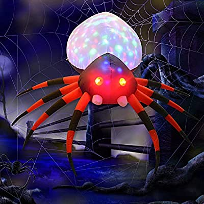 Inflatable Giant Spider with Magic Light for Halloween Decor