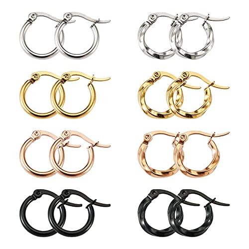 PandaHall 16 pendientes de aro de acero de titanio, 4 colores, anillo grande, 15 mm con lazo para mujeres y niñas, joyería de pendientes, colores mezclados