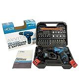 Taladro atornillador a batería de 12 V, maletín con 24 accesorios, 2 baterías y cargador