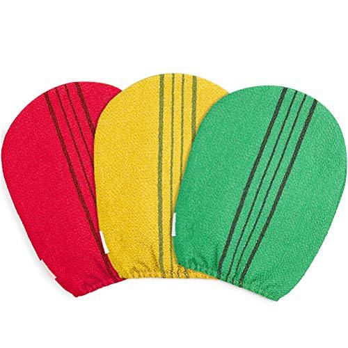 Peelinghandschuh -YUESEN Massagehandschuh,Reinigt Porentief für Körper & Gesicht - Duschschwamm für Peeling & Body Scrub,Eingewachsene Haare Behandlung,Mehrere Farben(3 Pcs)