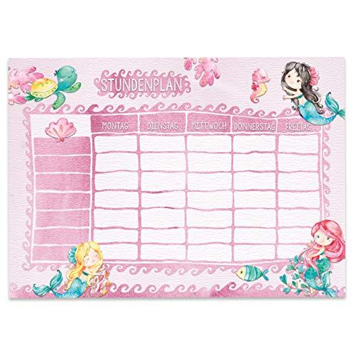 Papierdrachen Stundenplan DIN A4 Block - Motiv Meerjungfrau - beschreibbar Schule oder Uni - Terminkalender und Wochenplan für Kinder