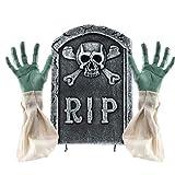 Prextex.com Decoraciones de Cementerio para Halloween escalofriantes 2 en 1 lápida con Manos y Brazos de Zombi