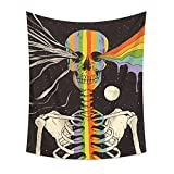 HoneyDec Skull Sunflower Spaceman Elephant Large Tapestry Wall Hanging for Room Decorative (59x78.74inch(150x200cm), Skull)