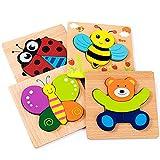 Puzzle en Bois, KOLADEKJouets Montessor Jeux Educatif 1 2 3 Ans Garcon Cadeau Fille (4pcs)