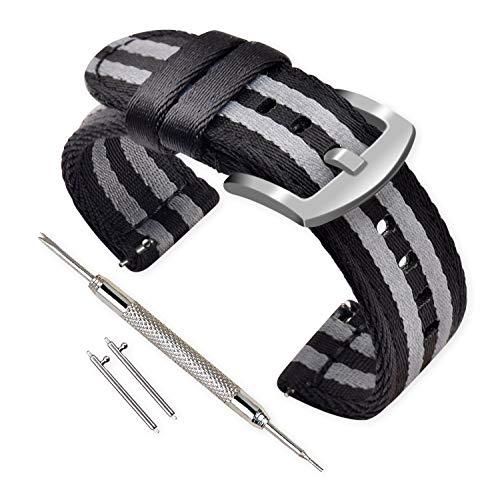 VINBAND Unisex Nylon Uhrenarmband mit Edelstahl Silberne Schnalle (24mm, Schwarz Grau Schwarz)