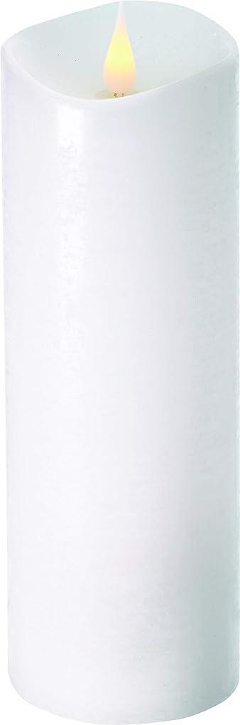 残酷なモンキー細心のエンキンドル 3D LEDキャンドル ラスティクピラー 直径7.6cm×高さ23.5cm ホワイト