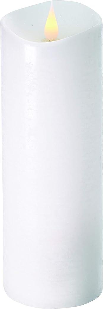 冗長範囲通知するエンキンドル 3D LEDキャンドル ラスティクピラー 直径7.6cm×高さ23.5cm ホワイト