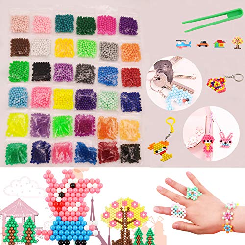 Water Fuse Beads Refill 5mm 3600 Beads 36 Colors Creative Waterbeads Magic Water Sticky Beads Art Crafts Toys for Kid's Arts & Crafts(Refill Pack)