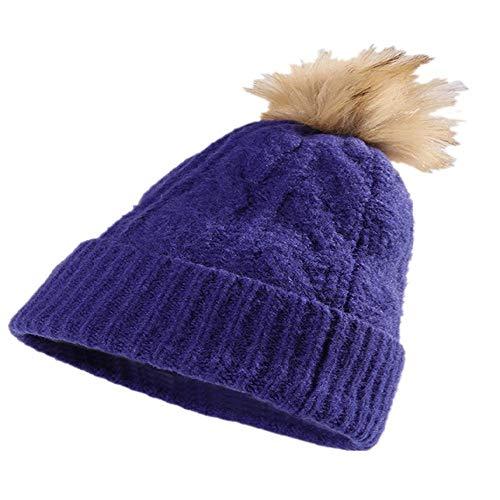 CZYTN - Gorro de invierno para mujer, estilo KorUPC Azul (bola peluda) Talla única