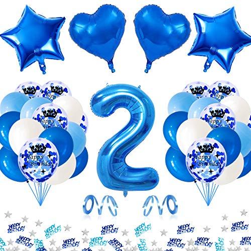APERIL Globo de Cumpleaños 2 Años, Azul Gigante Globos Numeros 2, 2er Cumpleaños Decoración Niño, Globos de Confeti Globo Azules Blancos e Confeti Fiesta Cumpleaños para Niño Cumpleaños Aniversario