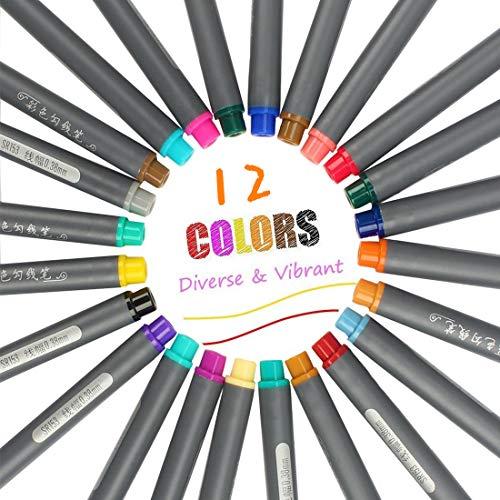 huahuajia rotuladores de Pincel rotuladores Pincel Plumas de Arte Cepillo de Plumas de caligrafía Metálico Marcador Plumas 12