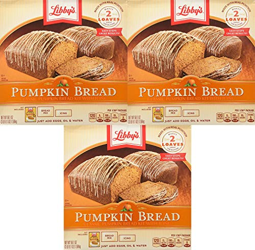 Libby's All Natural Pumpkin Bread Kit with Icing - Makes 2 Loaves Pack of 3