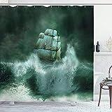 Wasserdichter & schimmelresistenter Duschvorhang Pirate Old Ship in Th&er Digital Artwork Fantasy Adventure Stoff Badezimmer Dekor Dunkelgrün 180x180cm