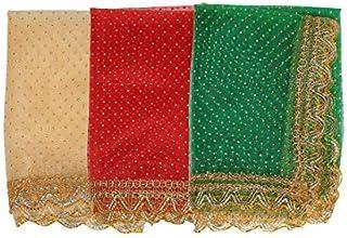 Aditri Creation Set of 3 Chunari Decorative Cloth Puja Chunni Chunar (Size :- 18 Inches x 36 Inches) Aasan Mat for Statue ...