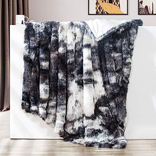 GONAAP Faux Fur Throw Blanket Decorative Super Soft Fuzzy Shaggy Luxurious Cozy Plush Fluffy Long Hair Comfy Microfiber Fleece Reversible for Coach Bed Chair Sofa (Tie-dye Marble Black 60'X80')