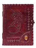 RKH Handmade Large 8' Embossed Leather Journal Celtic Stone Blank Personal Diary Notebook refillable Journal Gift (Dragon with Stone)