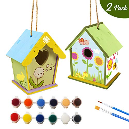 DIY Bird House Kit for Kids, 2 Pack Wooden Birdhouse with 12 Colors Paints & 2 Brushes,Wooden Handmade Arts for Girls Boys Age 3-12 Home Activities Decoration