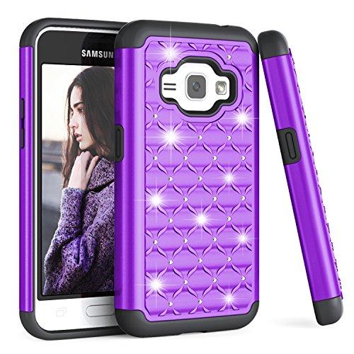 Galaxy Express 3 / Amp 2 / Luna Case, Galaxy J1 2016 Case for Girls, TILL Studded Rhinestone Crystal Bling Diamond Sparkly Luxury Shock Absorbing Hybrid Defender Rugged Glitter Case Cover [Purple]
