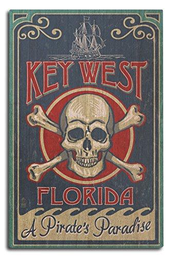 Lantern Press Key West, Florida - Skull and Crossbones (10x15 Wood Wall Sign, Wall Decor Ready to Hang)