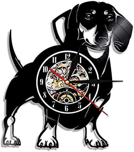 Perro Dachshund Perro Vinilo Perro Cachorro Animal Reloj de Pared Cable Peludo...