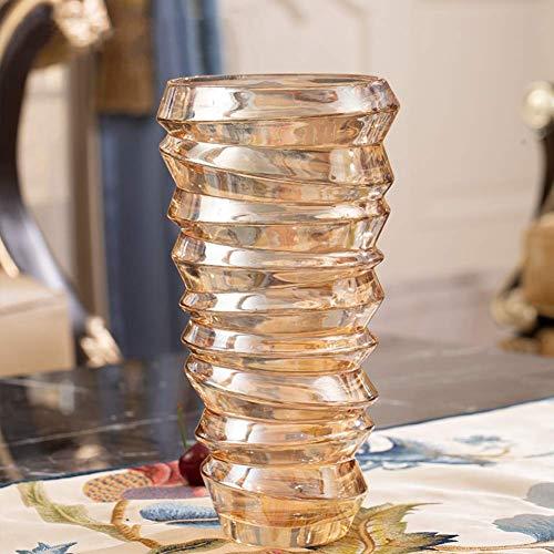 WLGQ Einzigartige Kristallvase Blumenarrangements Mehrfarbige europäische Blumenvase Pflanzenblumenvase Moderne kreative transparente dekorative Vase Glasblumenvase A.