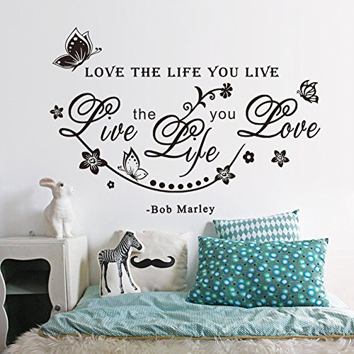 Supzone Love The Life You Live Wall Stickers Inspirational Lettering Sticker Quotes Sayings Wall Decals Removable Vinyl Living Room Bedroom Nursery Room Butterfly Flowers Vine Wall Decor