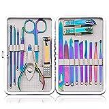 Camisin Rainbow Manicura Set 18pcs profesional Nail Clippers Kit Herramientas para mujeres Niñas, Acero Pedicura Cuidado Herramientas