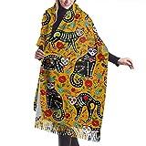 Bufanda de mantón Mujer Chales para, Cráneo de azúcar mexicano y gatos negros Bufanda cálida de invierno para mujer Bufandas largas y grandes de cachemira suave para envolver