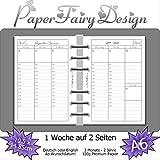 Kalendereinlagen 2020/2021/2022 - DIN A6 (10.5cm x 14.8cm) - 1 Woche auf 2 Seiten - 120g Premium Papier