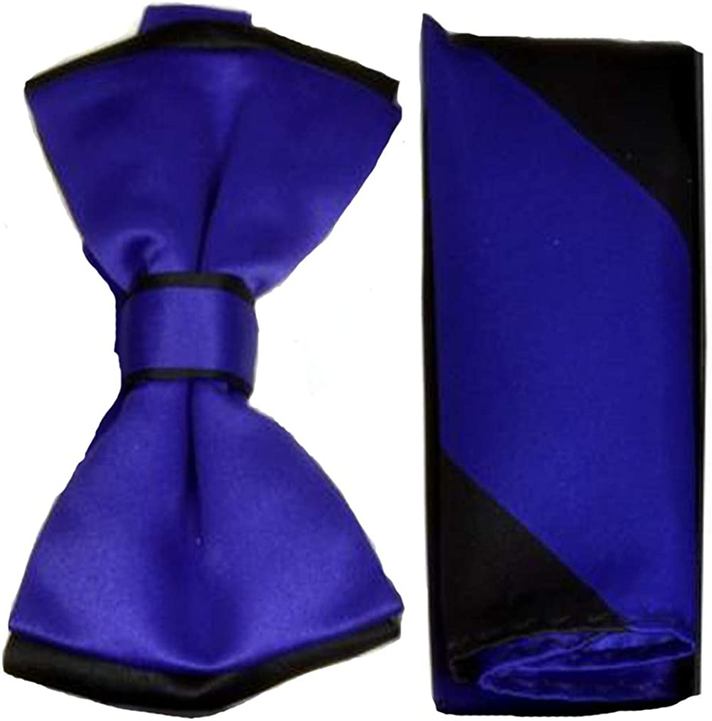 Men's Purple with Black Tipped Bow Tie and Matching Striped Pocket Square