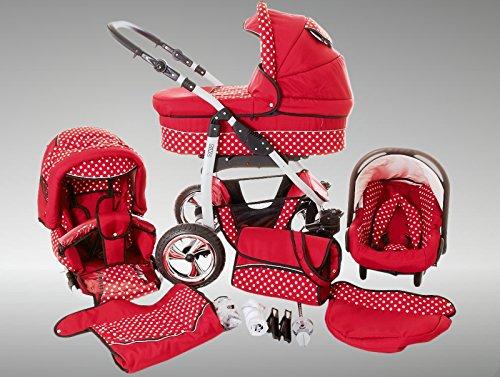Chilly Kids Dino Cochecito de bebé combinado 3 en 1 - Cochecito de bebé y silla de paseo; Parasol (cubierta de la lluvia, mosquitero, adaptador de asiento de coche, ruedas giratorias, 55 colores) 035 Red / White Dots