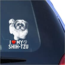 I Love My Shih-Tzu Clear Vinyl Decal Sticker for Window, Chinese Lion Dog Sign Art Print