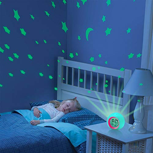 Kids Alarm Clock,Moon Stars Projector Alarm Clock,7 Color Changing Night Light,Snooze Touch Control Temperature for Kids' Bedroom, Digital Clock for Girls Boys Children Birthday Gifts