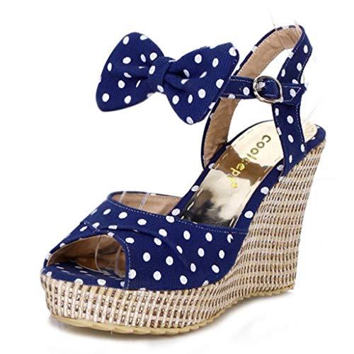 Damen Plateau Wedges Espadrille Sandalen Bowknot Open Toe High Heel Knöchelriemen Kleid Sandale