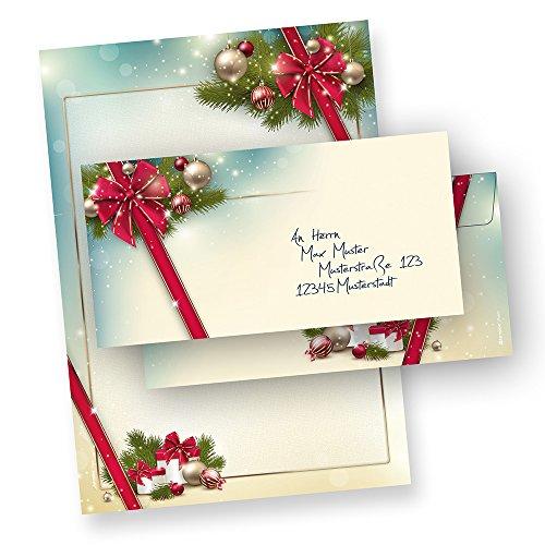 TATMOTIVE 03-0098-0090-00025 Briefpapier Froh-Weihnachten Set ROTE SCHLEIFE (25 Sets ohne Fenster) DIN A4 297 x 210mm 90 g/qm, Weihnachtsbriefpapier mit Umschläge Frohes Fest