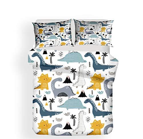 LanS Cartoon dinosaur Monster duvet cover bedding Set, duvet cover and pillowcase, 3 Piece Set bedding (duvet cover + 2 pillowcases) high density, soft, No allergy (L,Single-135x210cm)