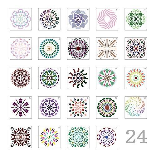 Integrity.1 Plantilla de Pintura Reutilizable,24 Piezas Plantillas de Mandala,Plantillas de Pintura de Mandala, para Pintar Sobre Madera, Pintura de Muebles de Madera y Arte de Paredes de Piedra