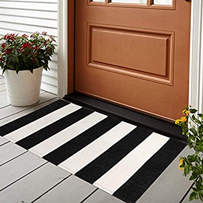 LEEVAN Cotton Doormat 2' x 3' Printed Black & White Strip Area Rug Machine Washable Woven Fabric Porch Outdoor Rug Indoor/Outdoor/Shower Bathroom Non-Slip Doormats