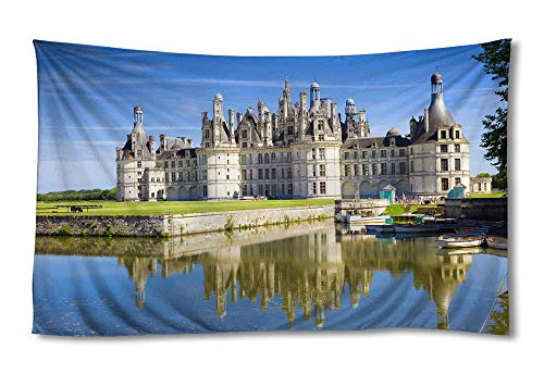 EGOTOU Chateau de Chambord France Castle Lake - Wall Tapestry Home Decor Art Wall Hanging Tapestries 50x75 inch