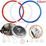 KUOOAN 3pcs Sealing Ring 8 Quart Silicone Gasket Accessories Rubber Sealer Silicone Caps Replace for Pressure Cooker and Air Fryer (White+Red+Blue)