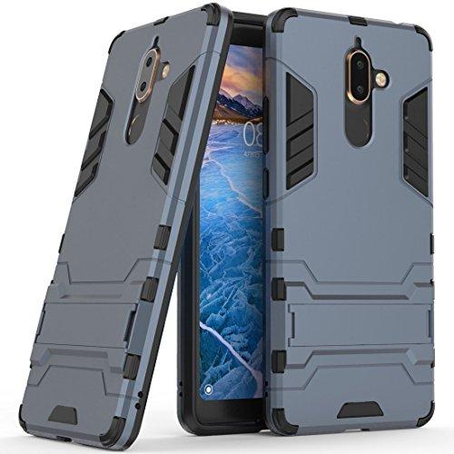 Hoesje voor Nokia 7 Plus (6 inch Scherm) 2 in 1 Hybrid Rugged Schokbestendige Back Cover met Kickstand Hoes (Blauw Zwart)