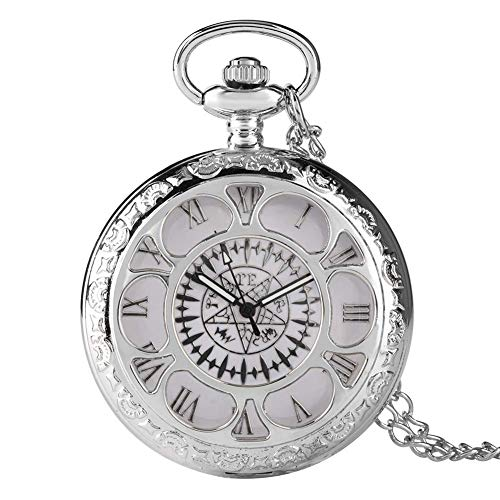 HUAXUE Relógio de bolso, relógio de bolso antigo Kuroshitsuji preto com design mágico de quartzo casual masculino