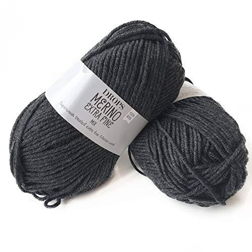 Superwash 100% Merino Wool Yarn for Knitting and Crocheting, 3 or Light, DK, Leight Worsted Weight, Drops Merino Extra Fine, 1.8 oz 115 Yards per Ball (03 Dark Grey)