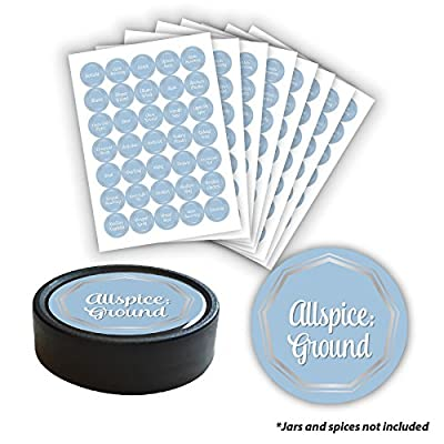 """AllSpice 315 Preprinted Water Resistant Round Spice Jar Labels Set 1.5""""- Fits Penzeys and AllSpice Jars- 4 styles to choose from (Blue and Silver)"""