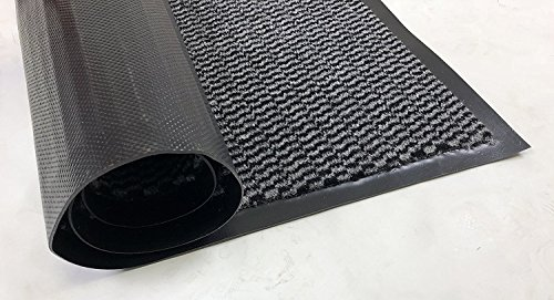RugStylesOnline Entry Mat Doormat Entrance Mat and Hallway Runner Entry Collection Grey Black Color Slip Skid Resistant PVC Backing Anti Bacterial (Grey-Black, 3' x 10')