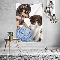 """""""N/A"""" 猫と犬 ガールズ タペストリー 壁掛け インテリア 多機能壁掛け ファブリック装飾用品 模様替え 部屋 窓カーテン 個性ギフト 新居祝い 152cmx102cm"""