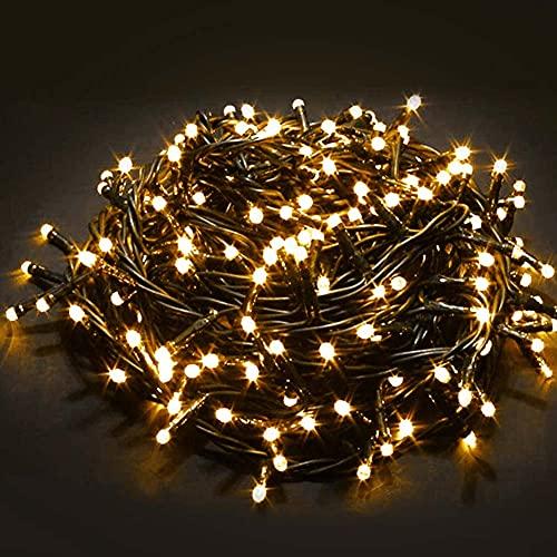 Bakaji Catena Luminosa 1000 Luci LED 55 Metri con Controller 8 Funzioni Impermeabile IP44 per uso Interno ed Esterno, Luci di Natale Cavo Verde Decorazioni per Albero di Natale