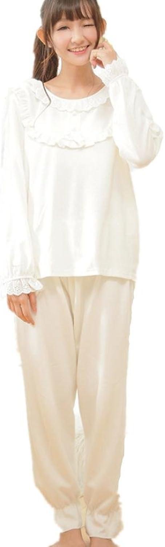 DMMSS Ladies Pajamas 2Piece Cotton LongSleeved Yukata Round Neck Sweet Home Pajamas Set