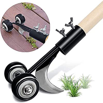 PcleasureCD Stand Up Weed Puller Tool, Weeds Snatcher Crack and Crevice Weeding Tool, Manual Weeder Garden Tools for Patio Backyard Sidewalk Driveways (Curved Hook)